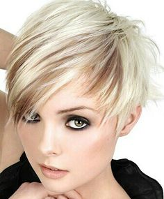 Platinum blonde hair with brown peak a boo low lights and a pixie asymmetrical haircut ~ Super Cute! Asymmetrical Pixie Haircut, Pixie Haircut For Round Faces, Round Face Haircuts, Haircut Short, Asymmetrical Hairstyles, Haircut Styles, Layered Hairstyles, Asymmetric Hair, Latest Haircut