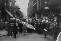 General view of Berwick Street Market in London's Soho - Vintage London, Old London, Candid Photography, Street Photography, Berwick Street, London Market, Old Portraits, London Look, London