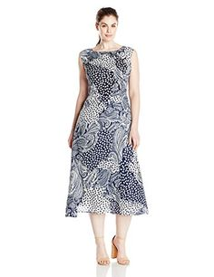 Single Dress Womens Plus Size Print Kathryn NavyCream 2X *** You can find more details by visiting the image link.
