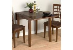 Jofran Caleb Brown Double Drop Leaf Dining Table with Terra Tile Inserts - 976-30