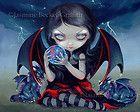 Jasmine Becket-Griffith stampa artistica FIRMATO scuro Dragonling bambino fata nera tempesta