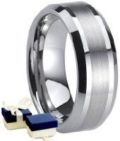 Mens Titanium Ring - Boxed 8mm Mens Titanium Wedding Engagement Comfort Band Ring - Size U Other Sizes Are Available by BTH