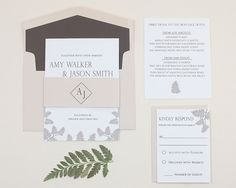 Fern ~ Wedding Invitation Suite at abbijo.com ~ rustic chic, classic, garden party wedding