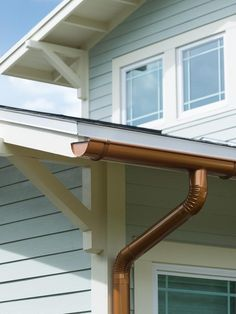 Stunning Brown Color Faux Copper Gutters And Combine With