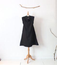 prêt à porter chipao lin noir col épaule slim tunique de lin robe taille M