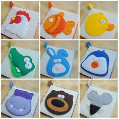 """Soft cards """"Rainbow Zoo"""" made of felt to learn colors and animals. Handmade unique item"""