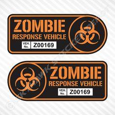 Zombie Response Vehicle Sticker Set Label by SkyhawkStickerDepot