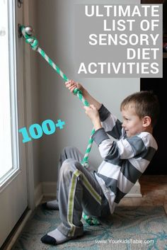 100 Awesome and easy sensory diet activities that you can start using in your home today! Find the best activities for your kid. Tap the link to check out fidgets and sensory toys! Sensory Therapy, Sensory Tools, Therapy Activities, Activities For Kids, Sensory Activities For Autism, Sensory Room Autism, Sensory Integration Therapy, Oral Motor Activities, Activity Ideas