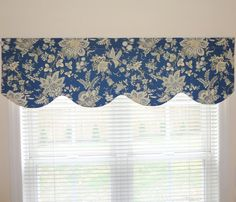 Scalloped Window Valance Topper Window Treatment Scalloped Blue Floral Valance