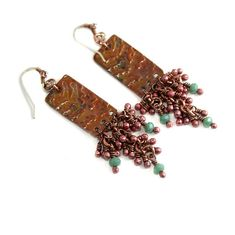 Green Rustic Metalwork Copper Chandelier Earrings, Copper, Wire Wrapped, Handmade, Canada, Antique Metal, Flame Painted, Colorful, Summer