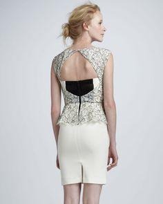 What a back. ShopStyle: Alice + Olivia Shovan Lace-Bodice Peplum Dress