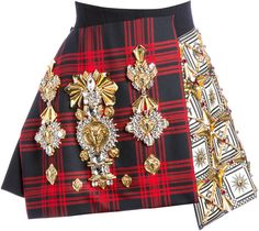 Embroidered Panelled Tartan Wool Crepe Skirt by Fausto Puglisi Red Tartan Skirt, Plaid Wool Skirt, Wool Mini Skirt, Tartan Plaid, Tartan Skirts, Wool Skirts, Kpop Fashion Outfits, Stage Outfits, Womens Fashion