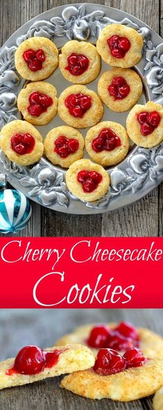 Cherry Cheesecake Cookies have the flavor of your favorite cheesecake recipe in a bite-sized, easy to achieve cookie. The dough contains cream cheese which is then rolled in graham cracker crumbs, topped with cherry pie filling before baking. #cookies #cheesecake Holiday Cookie Recipes, Easy Cookie Recipes, Best Dessert Recipes, Brownie Recipes, Cheesecake Recipes, Candy Recipes, Christmas Recipes, Cookie Ideas, Bar Recipes