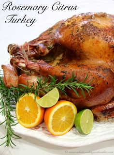 Rosemary Citrus Turkey is a melt-in-your-mouth recipe for your Holiday Turkey! by whatscookingwithruthie.com #recipes #turkey #holidays