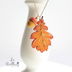 Quilled Autumn Oak Leaf Necklace by Le Quillery | by all things paper