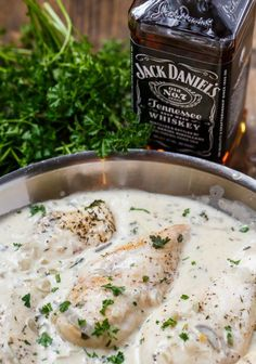 Chicken in Jack Daniels Cream Sauce - Frikassee Food Dishes, Main Dishes, Jack Daniels Chicken, Jack Daniels Sauce, Grilled Meat, Feta, The Best, Food To Make, Chicken Recipes