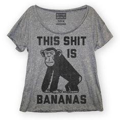 Bananas Tee Women's Gray
