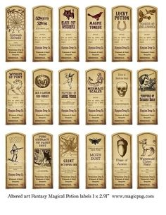 Fantasy Magic Potion Labels digital collage sheet 18 labels for decoupage witches brew supplies and