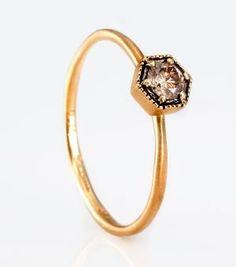 Catbird :: Satomi Kawakita :: Hexagon Ring, Champagne Diamond