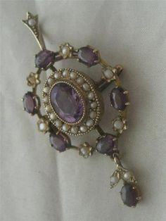 Antique c1860 15ct Gold Victorian Amethyst Seed Pearl Dangly Pendant Brooch | eBay