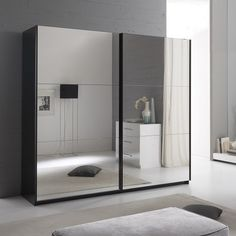 Furniture In Fashion Luciano Sliding Wardrobe Large In Black Gloss And 2 Mirror Doors