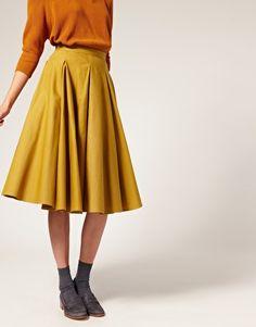 ASOS WHITE Calf Length Midi Skirt