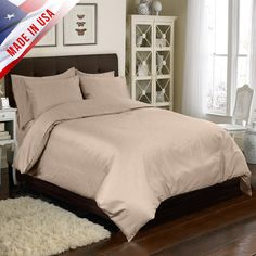 Veratex 4 Piece Duvet Cover Set Color: Taupe, Size: Queen