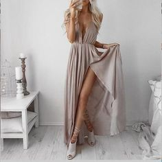 Sexy Prom Dress,Sleeveless Chiffon Split Evening Dress,Long Evening