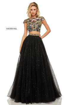 e9e8edd9c346 Style 52435 from Sherri Hill is a sparkling cap sleeve 2 piece prom gown  with a