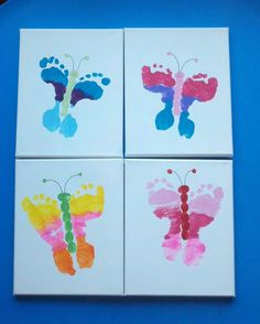 Our preschool mothers day gifts - foot butterfly canvases. #Mothers Day #Gifts