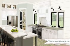 "Layla Palmer design, cool idea for pantry, and I love the big windows (instead of upper cabinets) in this country kitchen ""pick my presto"" by Layla."