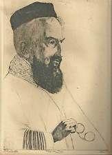 Marco Zim Russia Artist 1930s Scholastic Antique Etching Study Portrait Scholar