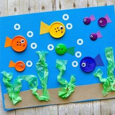 button fish craft - ocean kid craft - crafts for kids- kid crafts - acraftylife.com #preschool