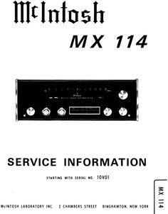McIntosh MX-114 , Original Service Manual PDF format suitable for all Windows , Linux and DOWNLOAD