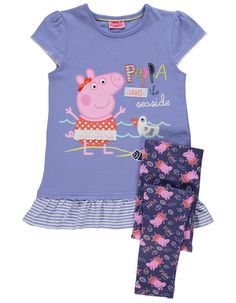 7a53600e Peppa Pig 2 Piece Top and Leggings Set | Kids | George at ASDA Girl Outfits