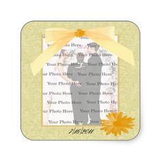 Yellow Flower Square Photo Stickers #weddings