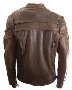 Mens Vintage Brown Leather Motorcycle Jacket