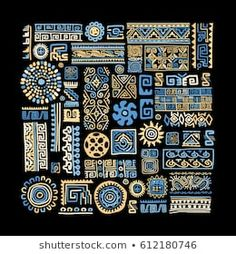 Ethnic handmade ornament for your design - buy this vector on Shutterstock & find other images. Ethnic Patterns, Mosaic Patterns, Abstract Pattern, African Fabric, African Art, Brick Art, Decoupage Printables, Doodle Art Journals, Handmade Ornaments