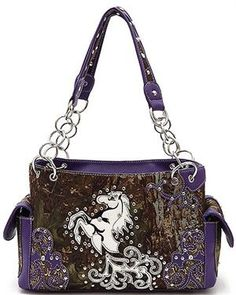 CONCEALED WEAPON CARRY HANDGUN CAMO CAMOUFLAGE HORSE WESTERN PURSE PURPLE