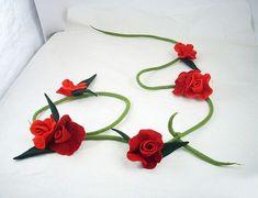 Felted Collar Felt Necklace ROSE FIELDS Flower art by filcant, $119.00