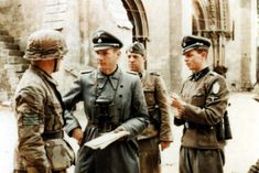 """At the building of l'Abbaye d'Ardenne (Ardenne Abbey), regimental command post of the SS-Panzergrenadier-Regiment 25 / 12.SS-Panzer-Division """"Hitlerjugend"""""""