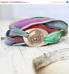 SALE Camera Jewelry Silk Wrap Bracelet Photography by hfgifts, $33.75