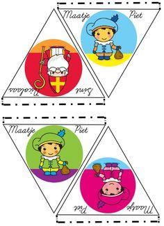 DIY voor Kinderen; 2013 Sint Nicolaas en zijn Maatjes Piet Vlaggen Slinger. Print deze afbeelding, Knip de Vlaggetjes uit en vouw de randjes om, lijm op de randjes en aan een draad lijmen. Ik heb deze slinger gemaakt om onze (nieuwetijds) Maatje Piet te Introduceren. Deel 2. Meer huidskleuren ~ DIY for Kids; 2013 Saint Nicholas and his Buddies Flag Garland. Part 2. More skincolors