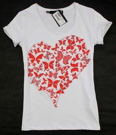 2015 new arrival diamonds butterfly love pattern short sleeve cotton t shirt women 2colors S,M,L,XL