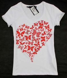 2015 new arrival diamonds butterfly love pattern short sleeve cotton t shirt women 2colors S,M,L,XL