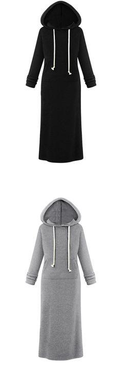 Women's Hooded Pullover Maxi Sweatshirt Dress...