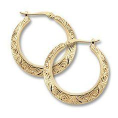 Hoop Earrings https://www.goldinart.com/shop/earring/14k-earrings/hoop-earrings-2 #14KaratYellowGold, #HoopEarrings, #Scroll