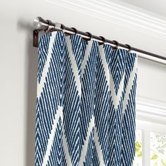 Convertible Drapery Tribal Navy Blue Chevron Curtains with Pocket Blue Curtains Living Room, Nursery Curtains, Living Room Green, Kitchen Curtains, My Living Room, Navy Curtains Bedroom, Blue And White Curtains, Coastal Curtains, Farmhouse Curtains