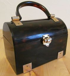 Vintage 1950s Lucite Tortoise Shell Box Purse