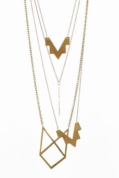 Show off your architectural eye with these clean-cut brass Necklaces from VRD Jewelry!  www.mooreaseal.com